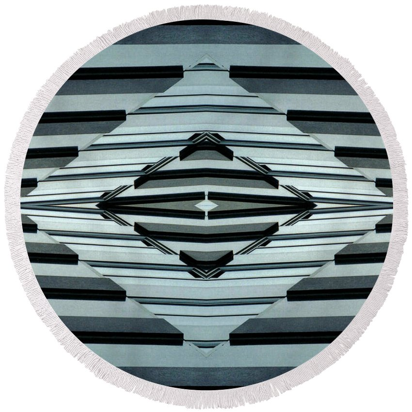 Original Round Beach Towel featuring the photograph Abstract Buildings 6 by J D Owen