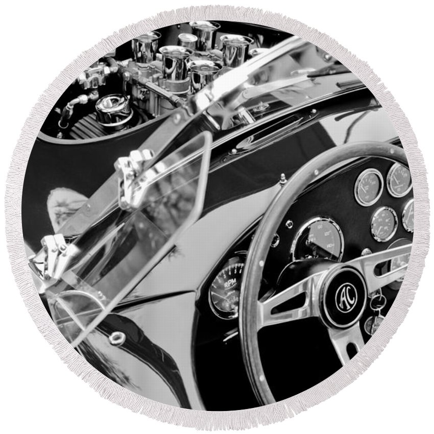 Ac Shelby Cobra Engine - Steering Wheel Round Beach Towel featuring the photograph Ac Shelby Cobra Engine - Steering Wheel by Jill Reger