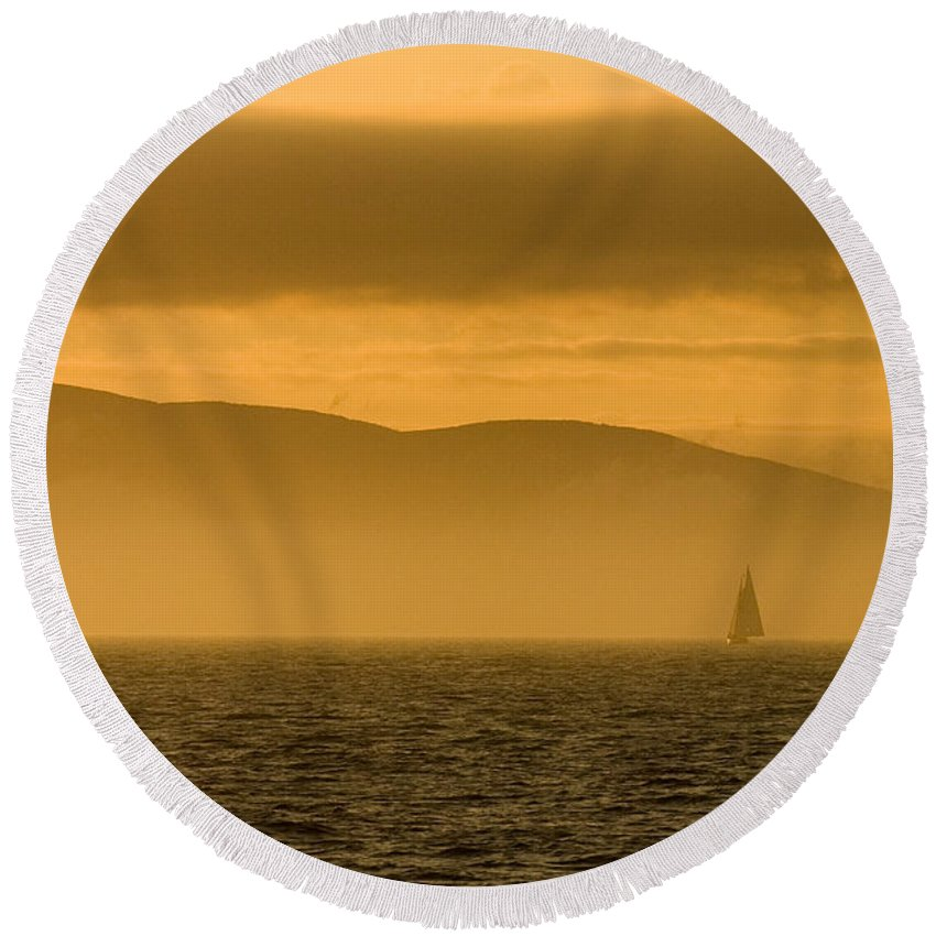 Sunset Round Beach Towel featuring the photograph Acadia National Park Sunset by Sebastian Musial