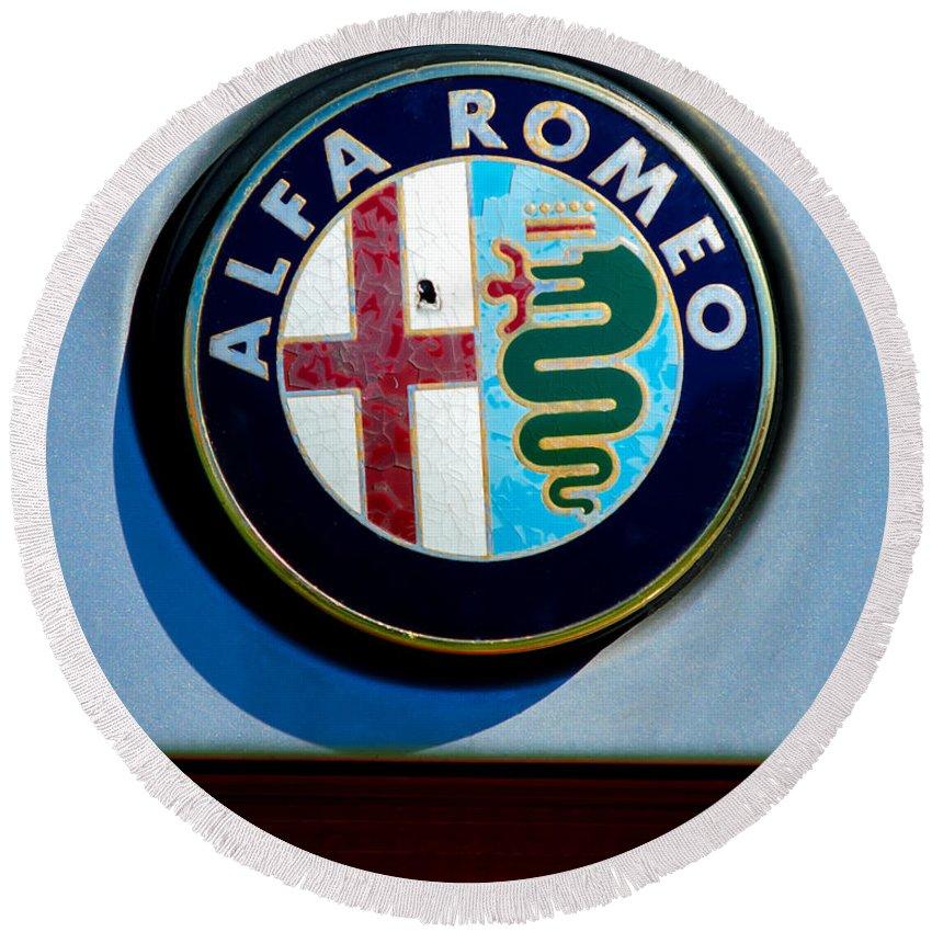 Alfa-romeo Logos Round Beach Towel featuring the photograph Alfa Romeo Emblem by Jill Reger