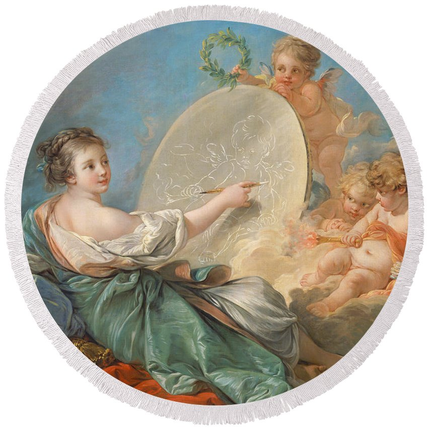 Allegory; Painting; Personification; Allegorical; Putto; Putti; Drawing; Picture; Painting; Artist; Painter; Reclining; Artist's; Tools; Paintbrush; Brushes; Palette; Canvas; Cloud; Clouds; Heavenly; Idyllic; Utopia; Utopian; Rococo; Francois; Boucher; Heaven; Heavenly; Heavens; Cherub; Cherubs; Angels; Angelic; Angel; Sky; Light; Oil; Color; Colour; Illustration; Female; Woman; Children; Girl; Delicate; Women; Cloud; Clouds; Proverb; Proverbs; Zodiac; Astrology; Zodiac Sign; Angel; Painter; Round Beach Towel featuring the painting Allegory Of Painting by Francois Boucher