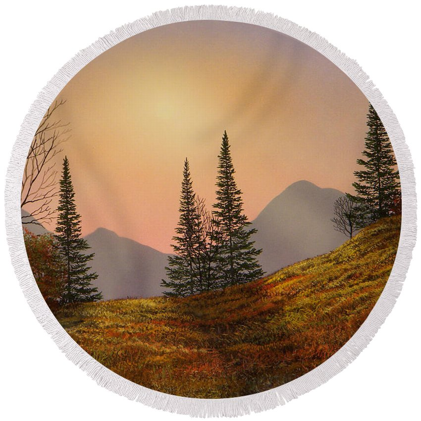Alpine Sunset Round Beach Towel featuring the painting Alpine Sunset by Frank Wilson