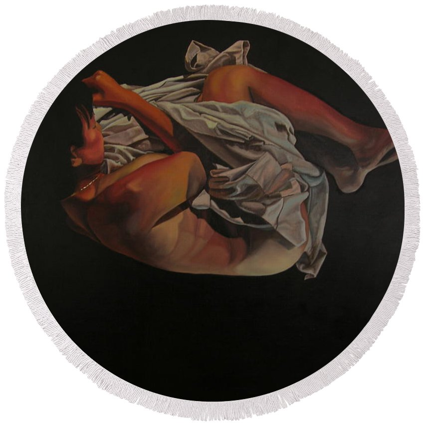 Semi_nude Round Beach Towel featuring the painting 2 Am by Thu Nguyen