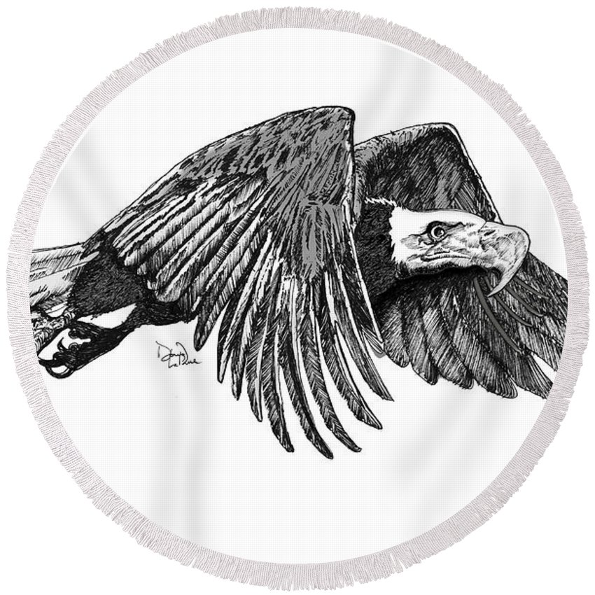 American Bald Eagle Round Beach Towel featuring the drawing American Bald Eagle by Doug LaRue