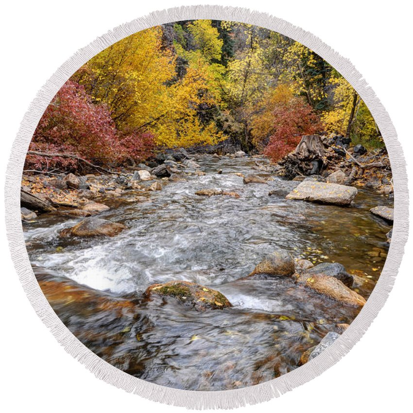 American Round Beach Towel featuring the photograph American Fork Canyon Creek In Autumn - Utah by Gary Whitton