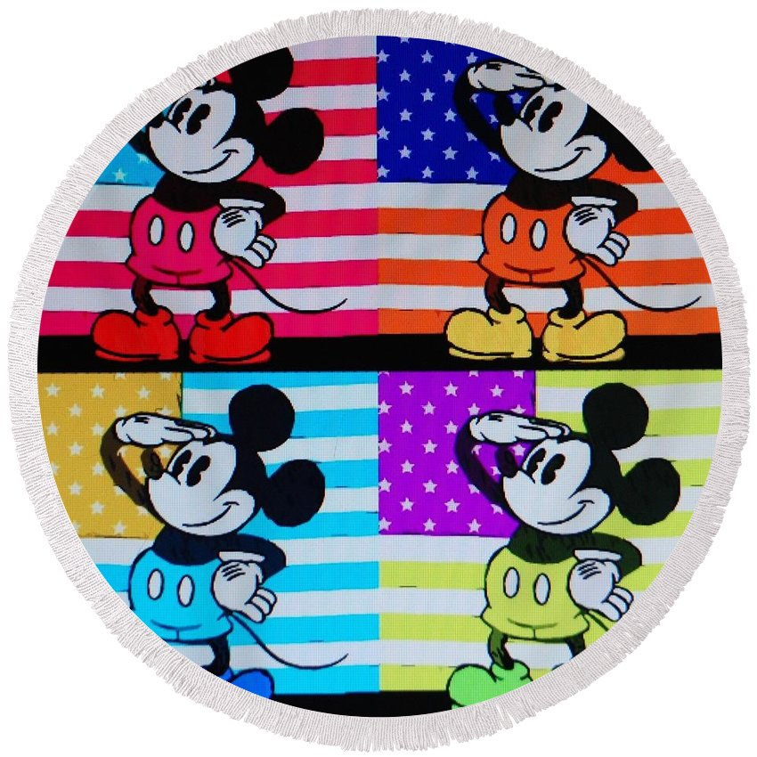 Mickey Mouse Round Beach Towel featuring the photograph American Mickey by Rob Hans