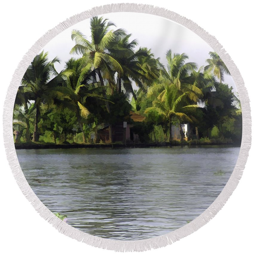 Alleppey Round Beach Towel featuring the digital art An Isolated Cottage Next To A Lake by Ashish Agarwal
