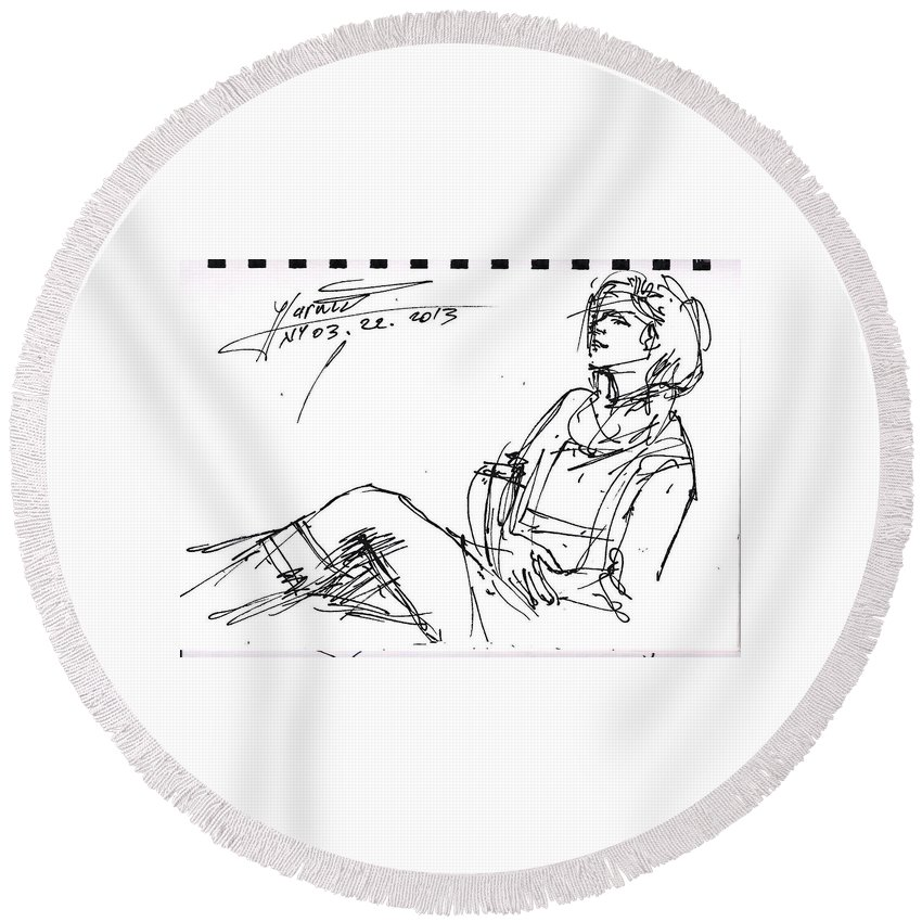 Pretty Girl Round Beach Towel featuring the drawing Ana by Ylli Haruni