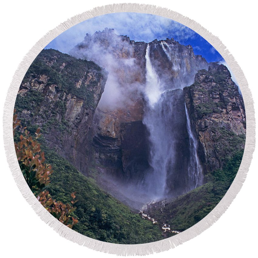 Venezuela Round Beach Towel featuring the photograph Angel Falls In Canaima National Park Venezuela by Dave Welling