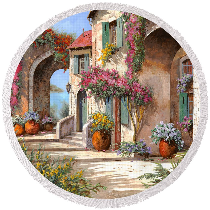 Arches Round Beach Towel featuring the painting Archi E Fiori by Guido Borelli