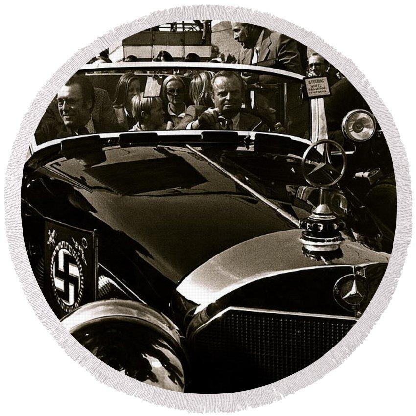 Auction Sale Last Ride Adolf Hitler's Model 770-k 1941 Mercedes-benz Touring Car Scottsdale Az 1973 Round Beach Towel featuring the photograph Auction Sale Last Ride Adolf Hitler's Model 770-k 1941 Mercedes-benz Touring Car Scottsdale Az 1973 by David Lee Guss