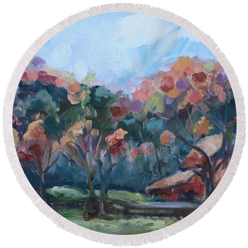 Autumn Barn Round Beach Towel featuring the painting Autumn Barn by Donna Tuten
