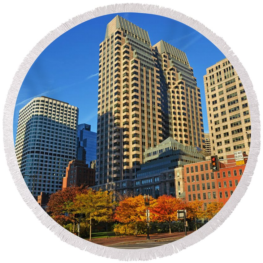 Boston Round Beach Towel featuring the photograph Autumn In Boston by Toby McGuire