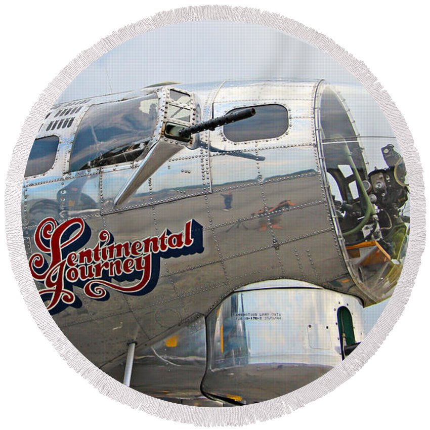 Aeroplane Round Beach Towel featuring the photograph B17 Flying Fortress by Paul Fell