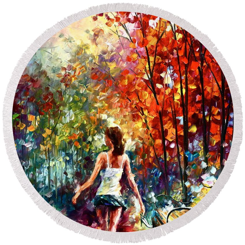 Afremov Round Beach Towel featuring the painting Barefooted Stroll by Leonid Afremov