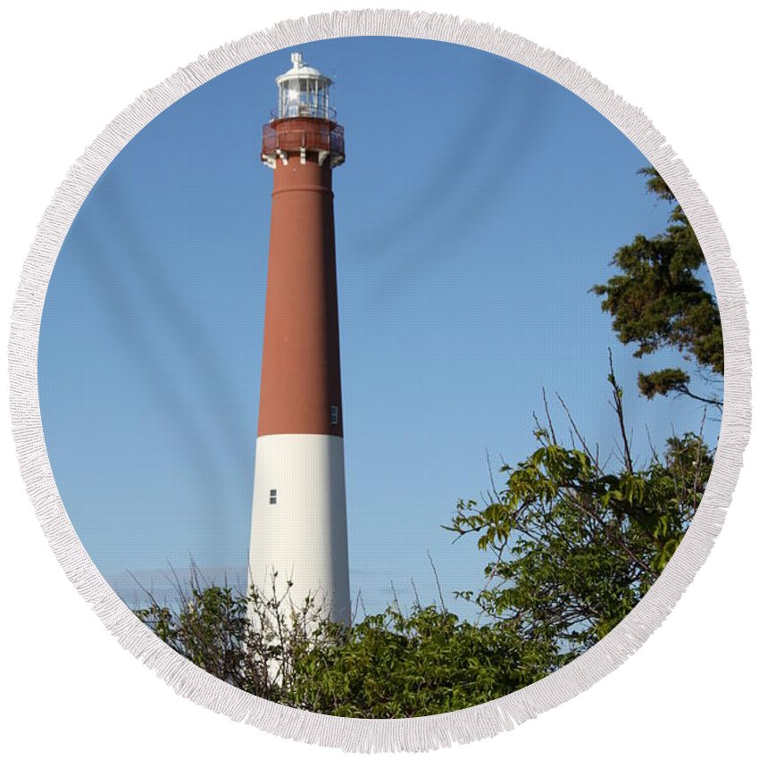 Lighthouse Round Beach Towel featuring the photograph Barnegat Lighthouse by Christiane Schulze Art And Photography