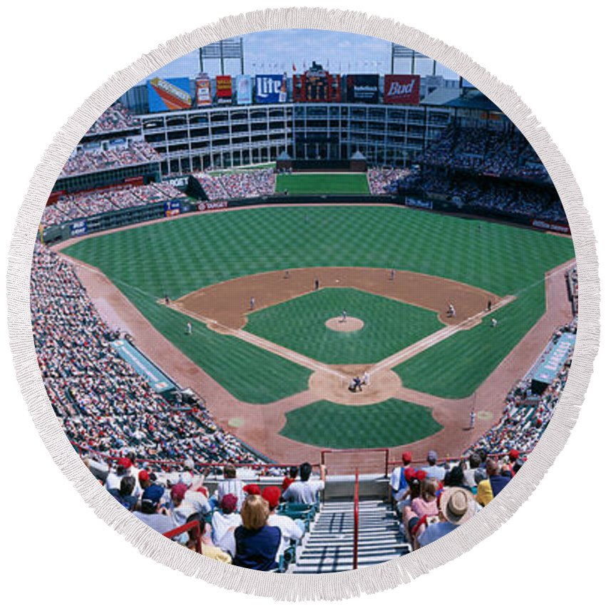 Photography Round Beach Towel featuring the photograph Baseball Stadium, Texas Rangers V by Panoramic Images