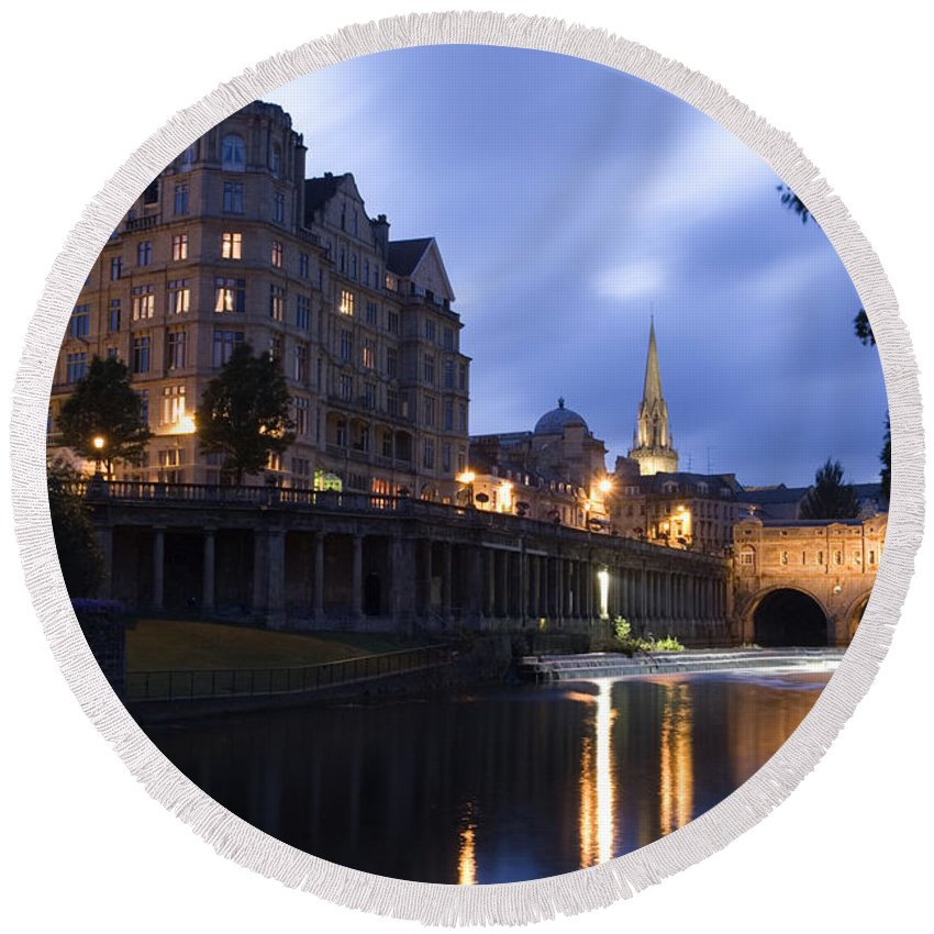 Bath Round Beach Towel featuring the photograph Bath City Spa Viewed Over The River Avon At Night by Mal Bray