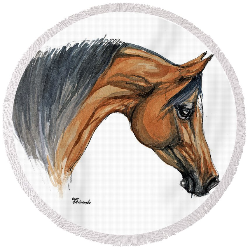 Horse Round Beach Towel featuring the painting Bay Arabian Horse Watercolor Painting by Angel Tarantella