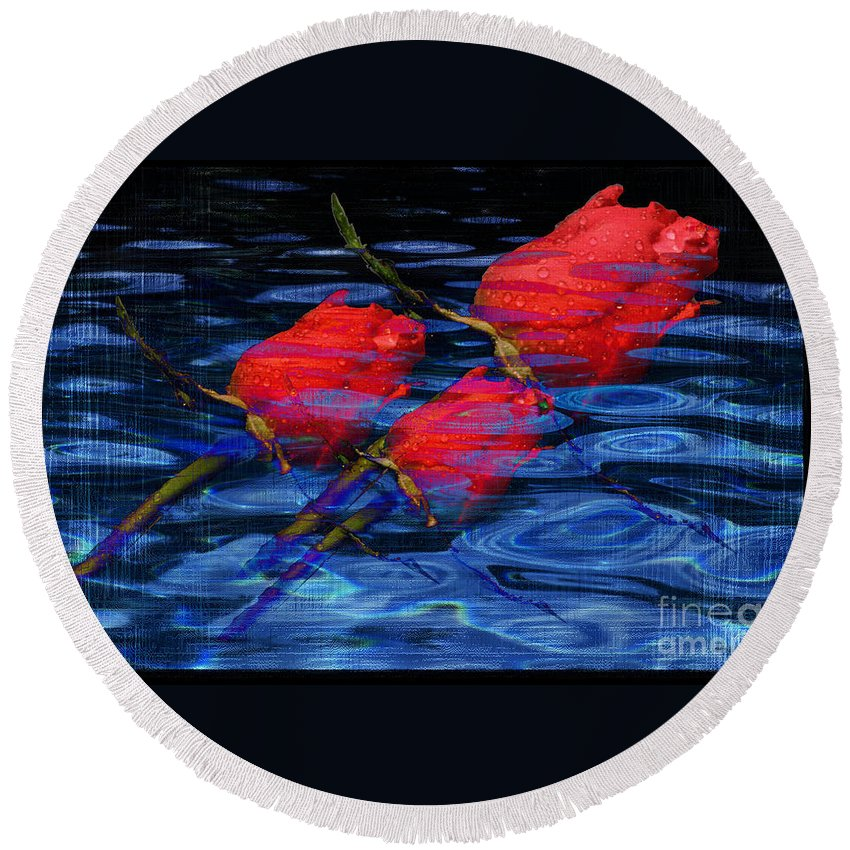Rose Image Round Beach Towel featuring the digital art Be Mine by Yael VanGruber