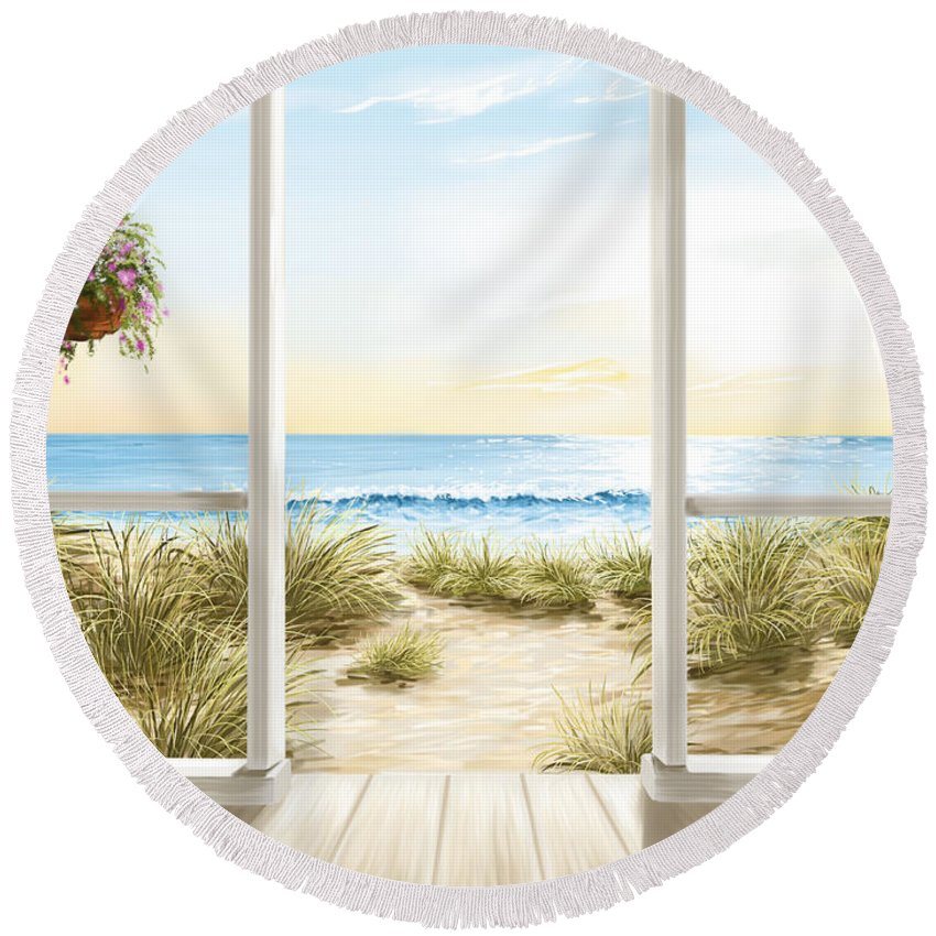 Ocean Round Beach Towel featuring the painting Beach House by Veronica Minozzi