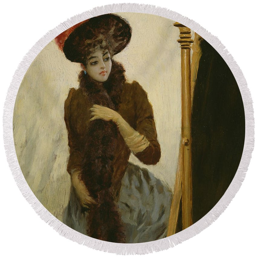 Female Round Beach Towel featuring the painting Before The Swing Mirror by Emile Galle