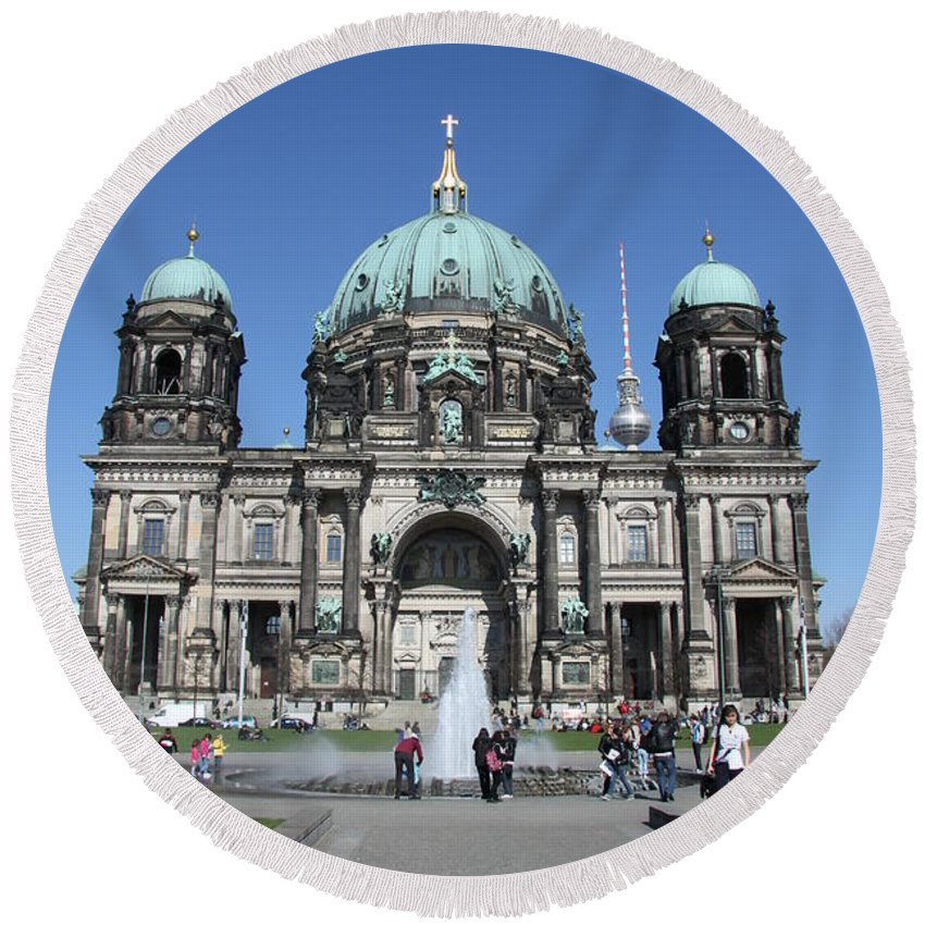 Cathedral Round Beach Towel featuring the photograph Berliner Dom by Christiane Schulze Art And Photography