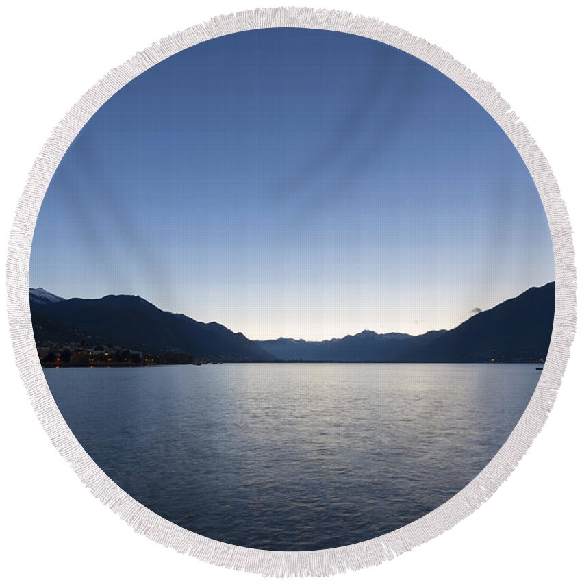 Lago Maggiore Round Beach Towel featuring the photograph Blue Hour by Mats Silvan