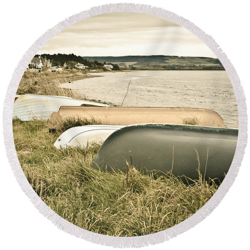 .moray Round Beach Towel featuring the photograph Boats At Findhorn by Tom Gowanlock