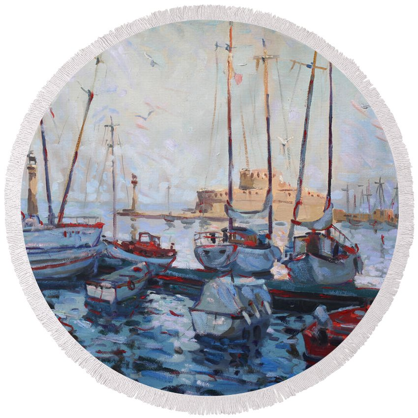 Boats Round Beach Towel featuring the painting Boats In Rhodes Greece by Ylli Haruni