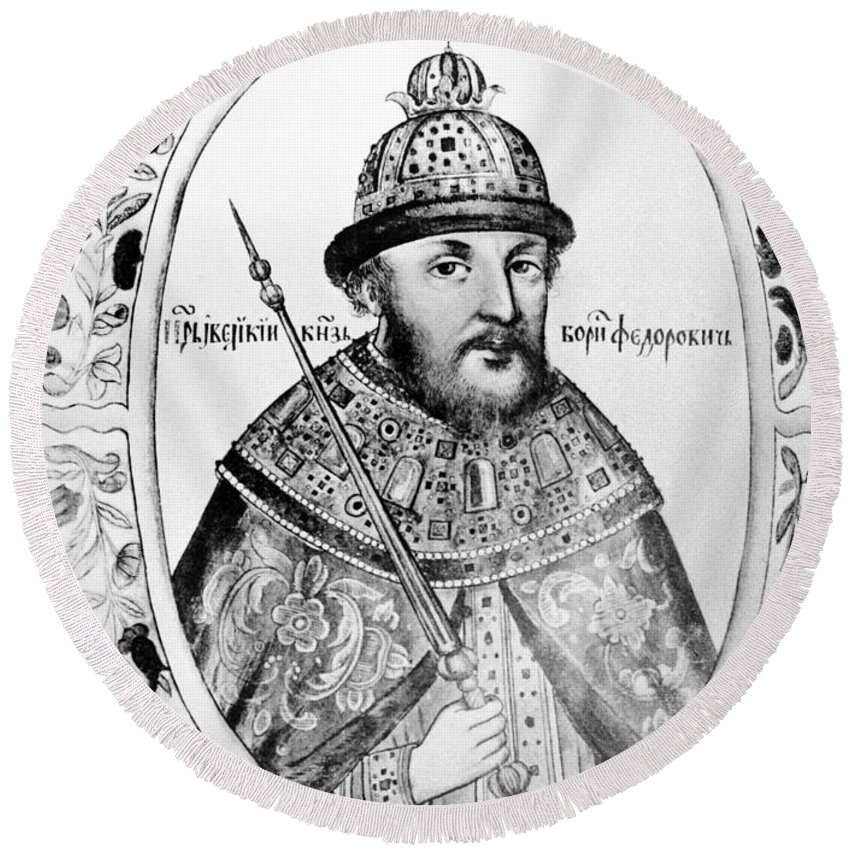 1590s Round Beach Towel featuring the painting Boris Godunov (c1551-1605) by Granger