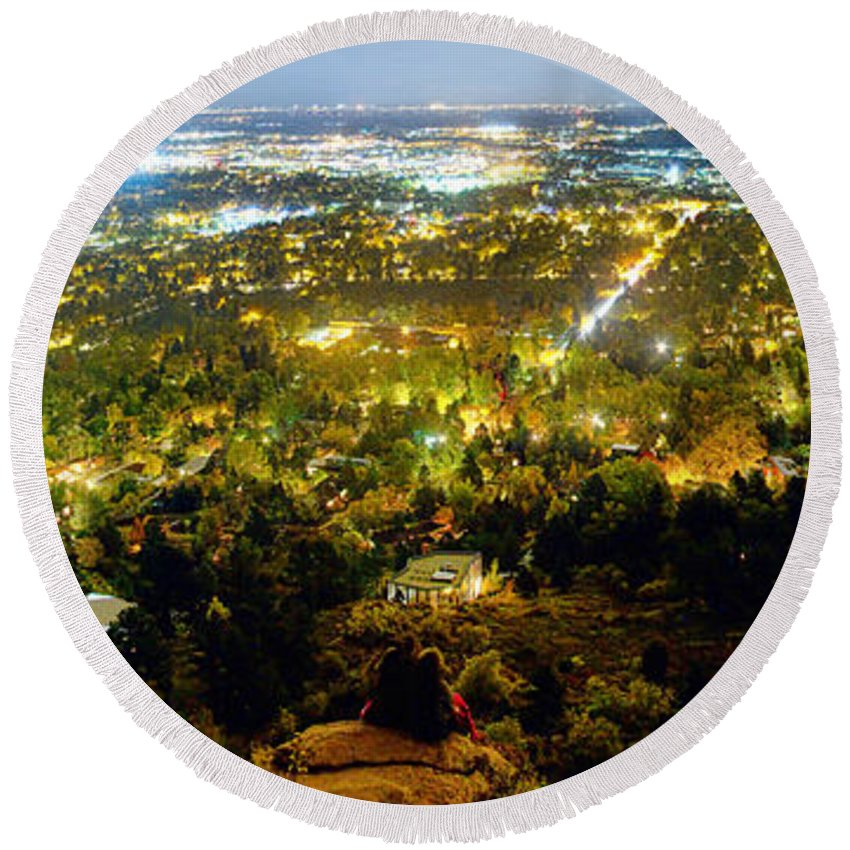 Cityscape Round Beach Towel featuring the photograph Boulder Colorado City Lights Panorama by James BO Insogna