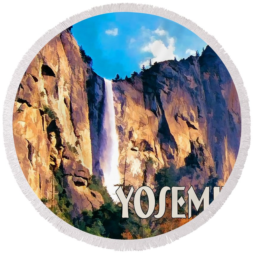 Scenic Landscape Park National+park Mountains Waterfall Water+fall West Western Yosemite Rugged California Round Beach Towel featuring the painting Bridal Veil Falls Yosemite National Park by Elaine Plesser
