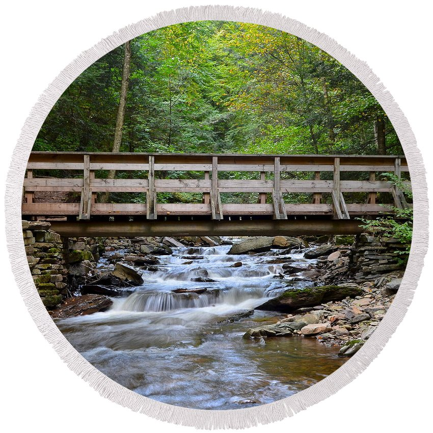 Bridge Round Beach Towel featuring the photograph Bridge To Paradise by Frozen in Time Fine Art Photography