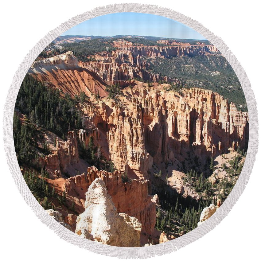 Mountains Round Beach Towel featuring the photograph Bryce Canyon Overlook by Christiane Schulze Art And Photography