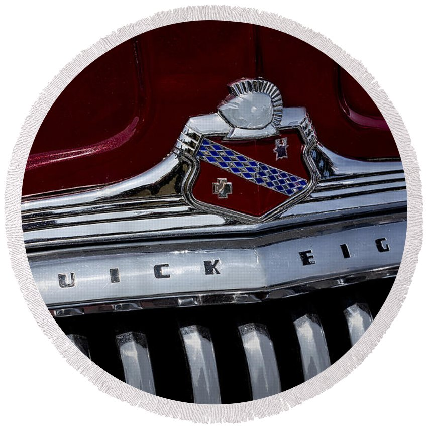 Buick Round Beach Towel featuring the photograph Buick 56c Super Classic by Susan Candelario