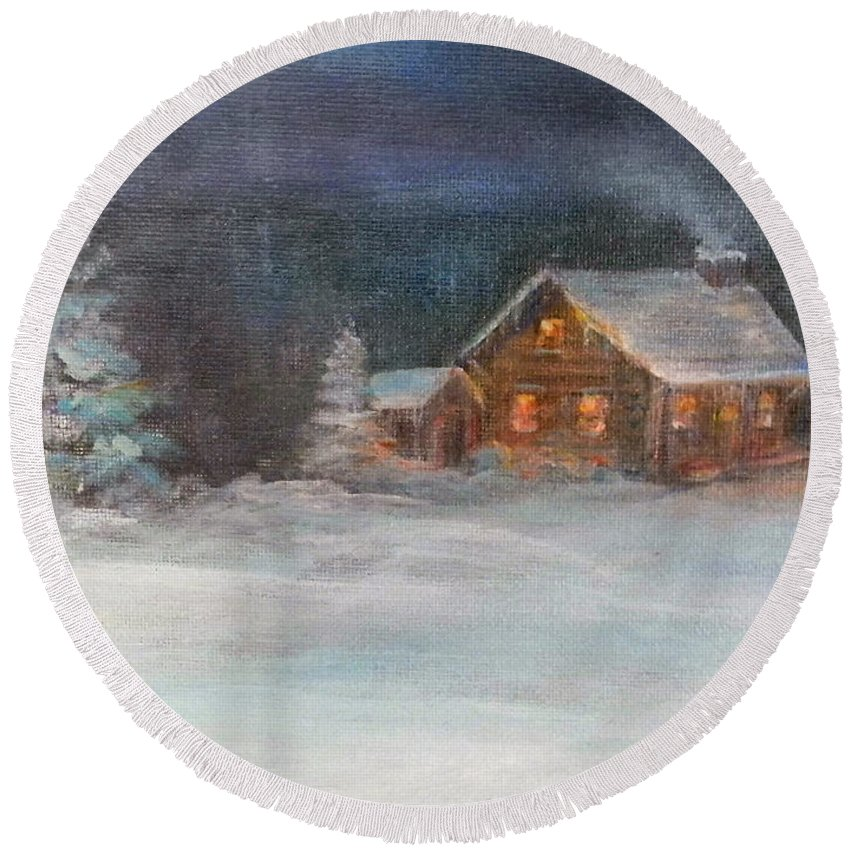 Snow Round Beach Towel featuring the painting Cabin In The Woods by Judie White