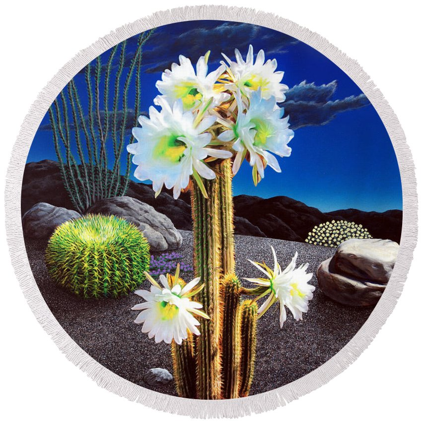Cactus Round Beach Towel featuring the painting Cactus Blooms by Snake Jagger