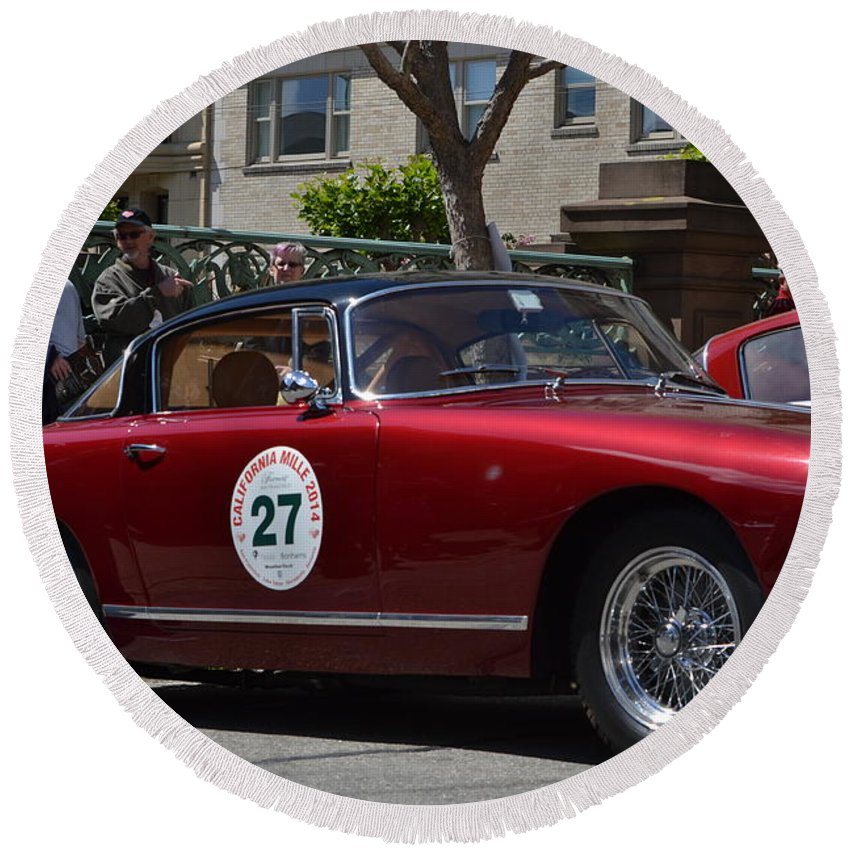 Red Round Beach Towel featuring the photograph California Mille by Dean Ferreira