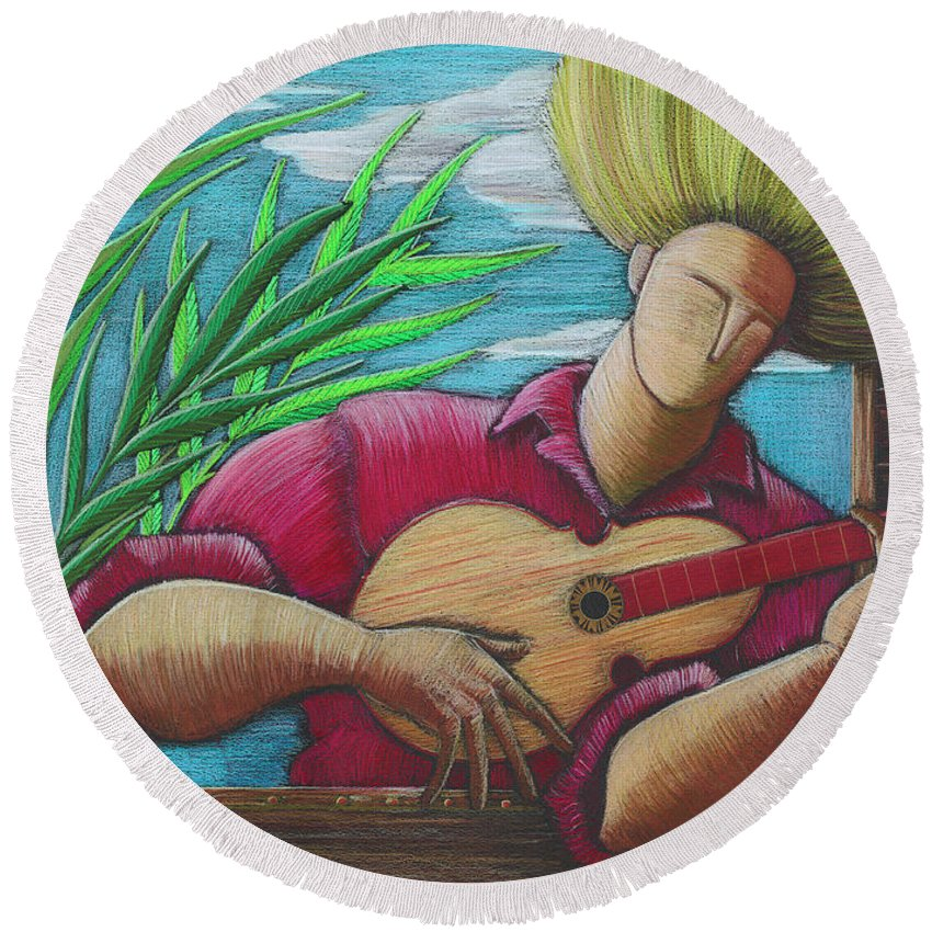 Puerto Rico Round Beach Towel featuring the painting Cancion para mi tierra by Oscar Ortiz