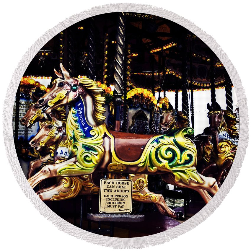 Carousel Horses Round Beach Towel featuring the photograph Carousel Horses by Steve Purnell