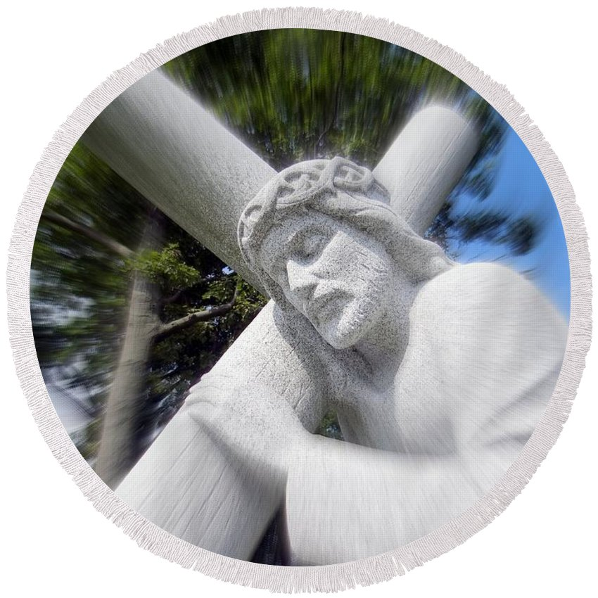 Jesus Christ Round Beach Towel featuring the photograph Carrying The Cross by Ed Weidman