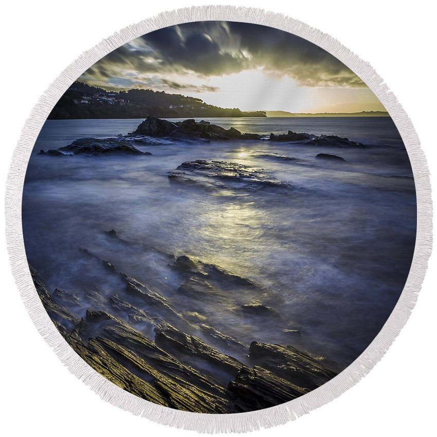 Ares Round Beach Towel featuring the photograph Chamoso Point In Ares Estuary Galicia Spain by Pablo Avanzini