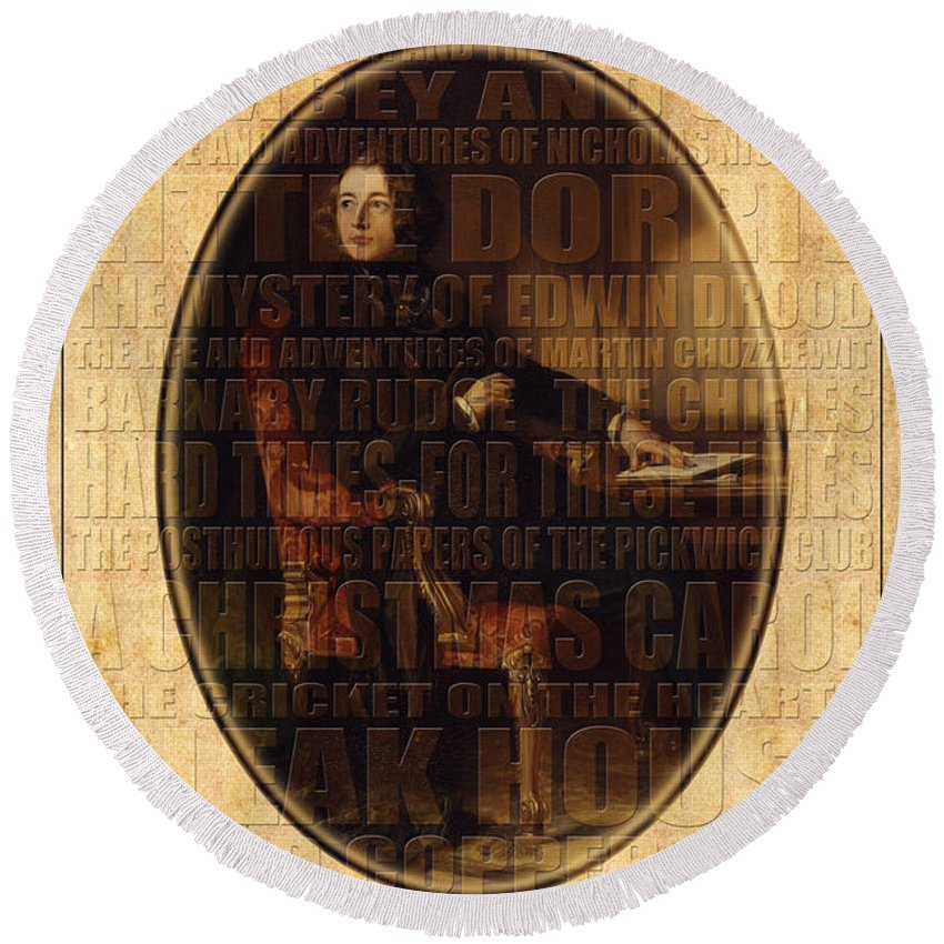 Dickens Round Beach Towel featuring the photograph Charles Dickens by Andrew Fare
