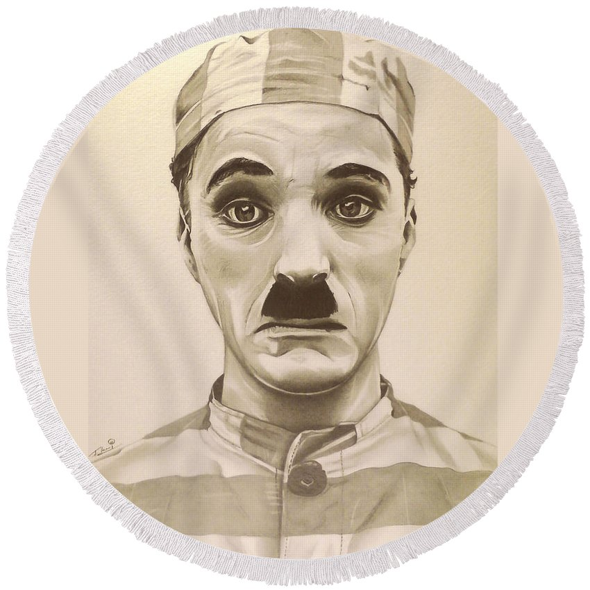 The Adventurer Round Beach Towel featuring the drawing Vintage Charlie Chaplin by Fred Larucci