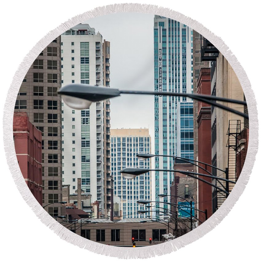 Architecture Round Beach Towel featuring the photograph Chicago Architecture by Alex Grichenko