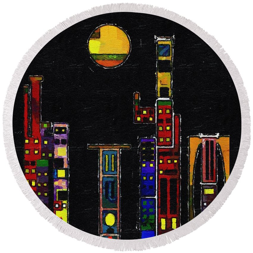 City Round Beach Towel featuring the painting Chinatown by RC DeWinter