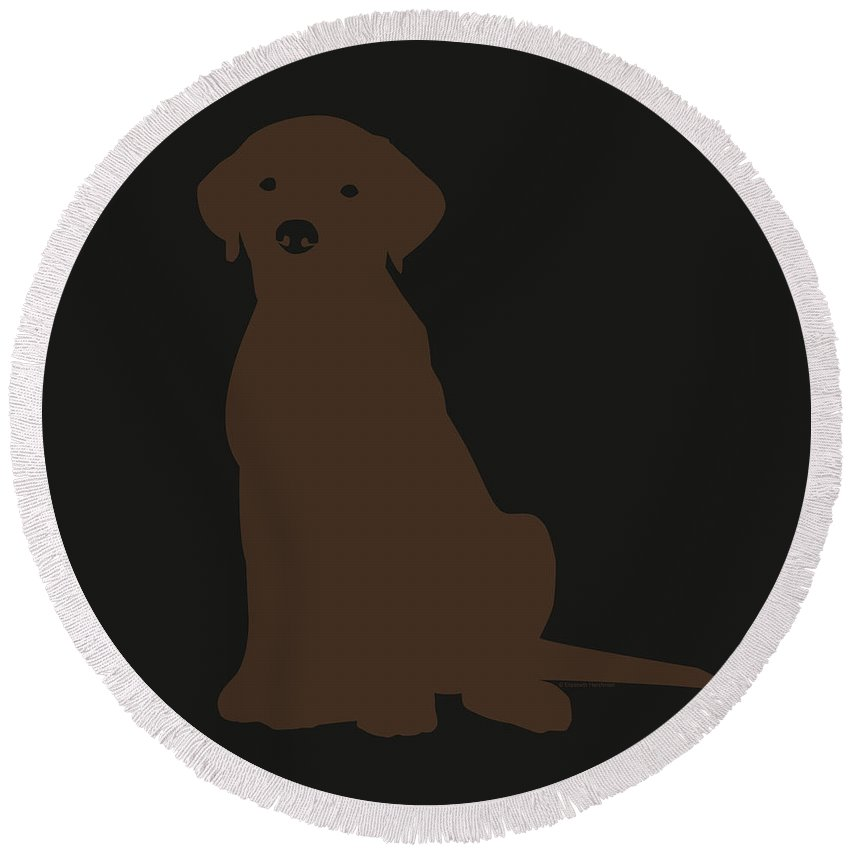 Lab Round Beach Towel featuring the digital art Chocolate Labrador by Elizabeth Harshman