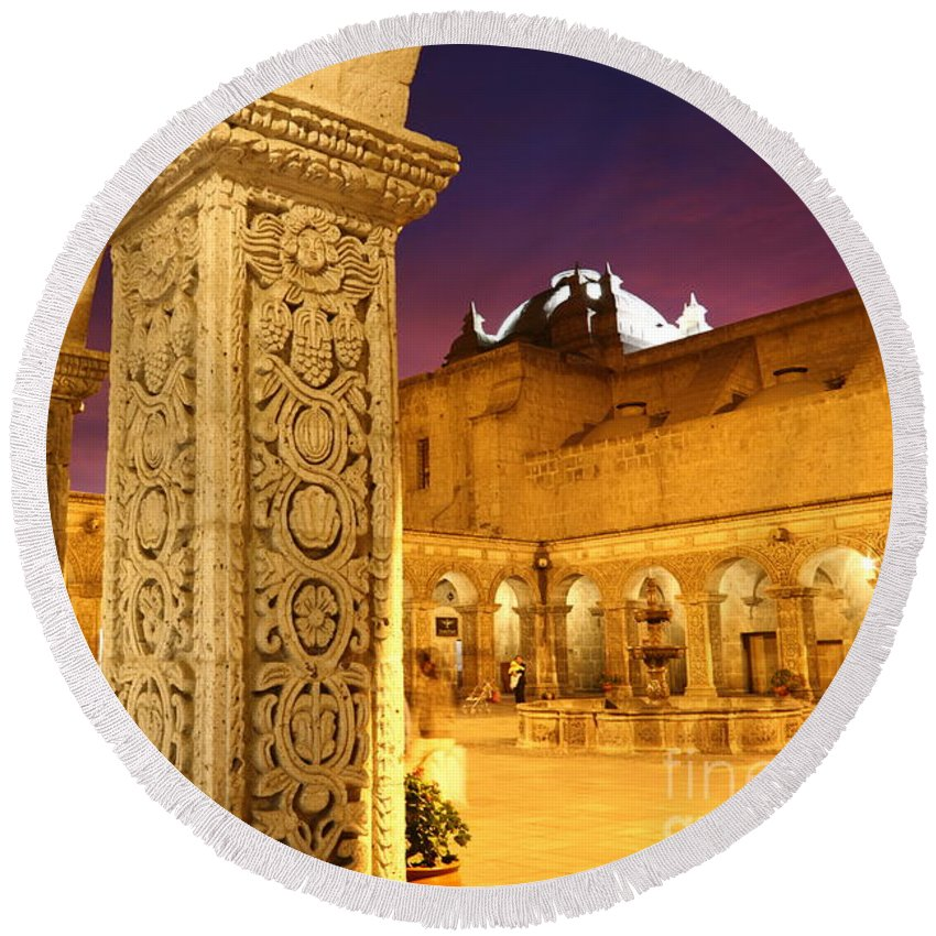 Peru Round Beach Towel featuring the photograph Cloisters At Sunset Arequipa by James Brunker