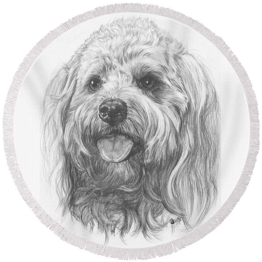 Designer Dog Round Beach Towel featuring the drawing Cock-A-Poo by Barbara Keith